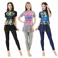 2019 Modest Women Islam Muslim Swim Costume Swimwear Beach Burkini Swimsuit Set