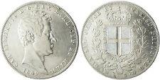 ITALIE  ,  SARDAIGNE  ,CHARLES  ALBERT  5  LIRE  ARGENT  1849  ANCRE  GENES