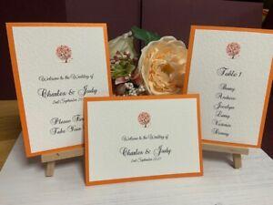 Wedding Seating Plan Cards - Autumn Tree Collection - Orange