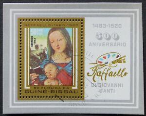 """Guinea-Bissau: Michel Block-Nr. 251 """"500. Geb. von Raffael"""" aus 1983, gestempelt"""