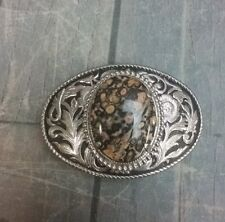 With Stone And Floral Motif Victorian Looking Silver Belt Buckle