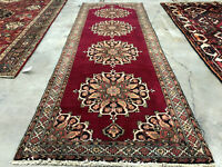 3x9 RED PERSIAN RUNNER ANTIQUE RUG HAND KNOTTED rugs handmade oriental black 3x8