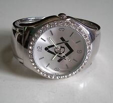 Designer silver finish Rhinestones bangle cuff fashion Mason dressy watch