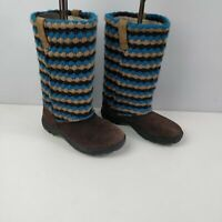 GIRLS KIDS KEEN BROWN BLUE SUEDE SLIP ON KNEE HIGH BOOTS SHOES UK 1 EU 34