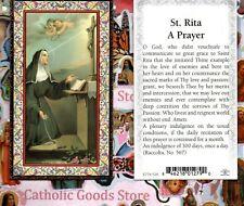 St Rita with Saint Rita A Prayer - Gold Trim - Paperstock Holy Card