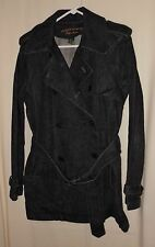Vtg Women's Ralph Lauren Trench Coat Black Denim Belted Lauren Jeans Small