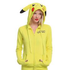 Pikachu Pokemon Cosplay Jacket Ears Face Tail Zip Hoody Sweatshirt Hoodies Tops