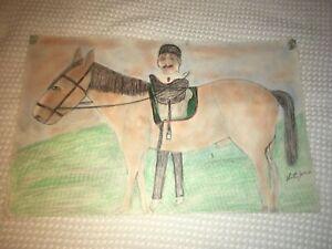 S.L. JONES Folk Art Drawing ~ Signed ~ Man w/ Turban Horse. DEAN JENSEN Gallery