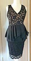 Lipsy Black Lace Co Ord 2 Piece Set Peplum Top & Stretch Pencil Skirt Size UK 12