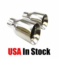 "2PCs Slant Cut Exhaust Pipe Tips 2.5"" Inlet 4"" Outlet Stainless Steel"