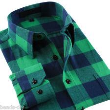 Men's Slim Fit Long Sleeve Shirt Plaids & Check Cotton Casual Dress Shirts Tops