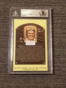 Slabbed Cut Handwriting Mickey Mantle Hall of Fame Plaque Card Beckett Authentic