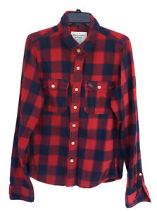 ABERCROMBIE & FITCH Red Heavy Flannel Shirt Size L Long Sleeve Button Up