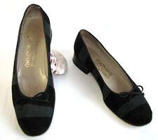 SALVATORE FERRAGAMO Chaussures fourrure cuir noir gris 8.5 39.5 TRES BON ETAT