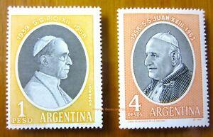 EBS Argentina POPES 1959 Pope Pius XII & 1964 Pope John XXIII MNH**