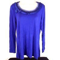 MOTTO Dressy Women's Top Blouse Size M Soft Stretchy Rayon Spandex Blue Purple