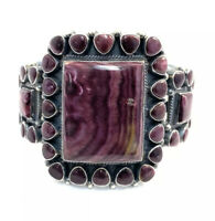Native American Sterling Silver Navajo Purple Spiny Oyster Cuff Bracelet