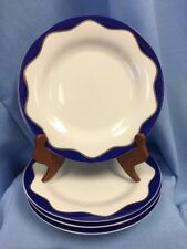 "New Set Of 4 Pottery Barn Hanukkah Pattern 8.5"" Side Plates Blue White Silver"