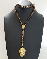 "Men 18k Yellow Gold Lion Charm Pendant 8mm Tiger Eye Beads Rosary Chain 30"""