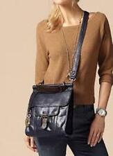 Fossil Emory Navy Black Tan Trim Leather Satchel Crossbody Bag Key Uni Fits iPad