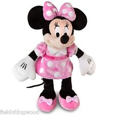 "NWT Disney Store Minnie Mouse Plush Pink Polka Dots Small Stuff Animal 12"" Gift"