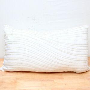 "Hotel Collection Moire 14"" x 26"" Decorative Pillow White J0Z138"