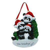 NAME PERSONALIZED Panda Bear Family of 3 Christmas Ornament 2020 Holiday Gift