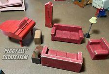 "MID-1940'S STROMBECKER RED FLOCKED LIVING ROOM DOLL HOUSE FURNITURE 3/4"" SCALE"