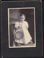 Vintage Antique Cabinet Card Adorable Little Baby Standing on Chair Neward NJ