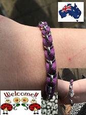 PURPLE AND SILVER INTERTWINDED SISTER BRACELET GREAT GIFT IDEA AUS SELLER141W