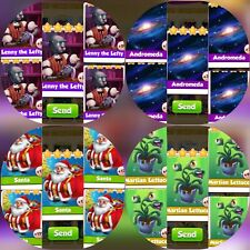 5x Lenny the Lefty & 5x Andromeda &5x Lettuce & 5x Santa ###  Coin Master Cards