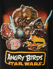 ANGRY BIRDS STAR WARS T Shirt Size XL parody  Black Cotton Black Yellow Brown