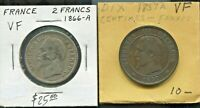 FRANCE- 2 BEAUTIFUL HISTORICAL NAPOLEON III COINS, 10 CENTIMES & SILVER 2 FRANCS