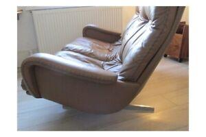 Vintage De Sede Leather Chrome Reclining Sofa 70's
