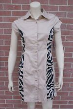 NWT DEREON Khaki /Print SHIRT DRESS Butom Up dress Beyoncé Size M RP$69.00