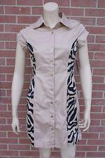 NWT DEREON Khaki /Print SHIRT DRESS Butom Up dress Beyoncé Size M RP$69.00