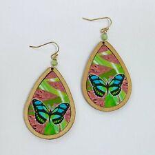 0105. Teardrop shape Drop Dangle Blue Butterfly Wooden Earrings