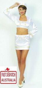 Ladies Sailor Navy Pin Up Girl Uniform Fancy Dress Costume..CHEEKY!!!!!!