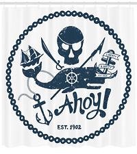 Nautical Decor Pirate Skull and Whale Ship Anchor Artprint Shower Curtain Set