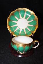 Vtg Koenigszelt Germany Handpainted Green & Gold Art Deco Demitasse Cup & Saucer