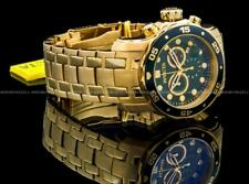 Invicta Pro Diver Scuba 18K Gold Plated Green Dial Chrono S.S Bracelet Watch NEW