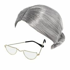 Old Lady Granny Bun Wig & Half Moon Glasses Specs Fancy Dress Costume Accessory