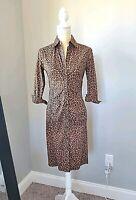 Express Design Studio Womens Dress Animal Print Button Down Long Sleeve Size 4