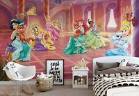 368x254cm Chambre Filles Vert Papier Peint Mural Mur Princesse Disney Palace
