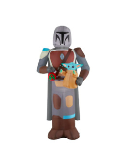 6.5' Star Wars Mandalorian with CHILD Pre Lit Christmas Yard Inflatable NEW 2021