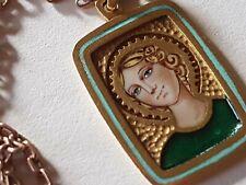 More details for beautiful 18k yellow gold religious enamel saint angel portrait woman green robe