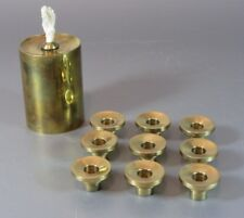 Vintage DENMARK Danmark MID-CENTURY MOD BRASS 9 CANDLE HOLDERS 1 with / oil use