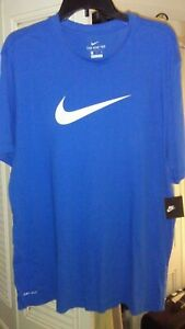 Royal Blue Nike Dri fit t shirt White Logo XL New With Tags