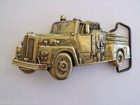 BELT BUCKLE FIRE ENGINE TRUCK VINTAGE 1978 SOLID BRASS GOLD TONE BARON MAKER