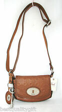 FOSSIL MADDOX CHESTNUT BROWN STAMPED EMBOSSED LOGO LEATHER CROSSBODY HAND BAG-NW